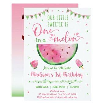 Cute Watermelon One In A Melon First Birthday Invitation
