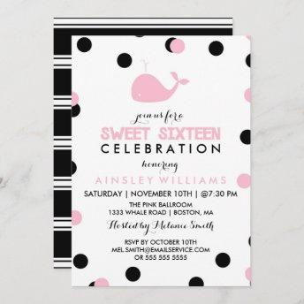 Cute Whale | Black & Pink Sweet Sixteen Party Invitation