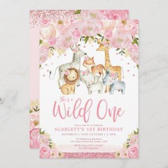 Cute Wild One Girl Safari Animals 1st Birthday Invitation