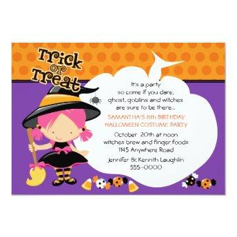 Cute Witch and Candy Halloween Birthday