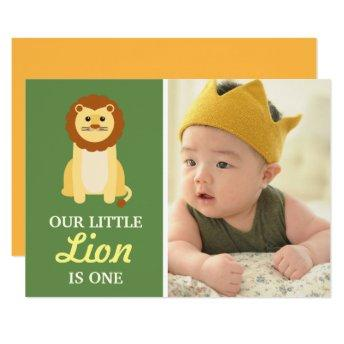 Cute Yellow Lion Baby Boy 1st First Birthday Party