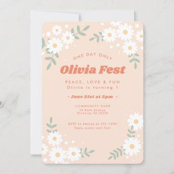 Daisy Flower Peach Music Festival Birthday Invitation