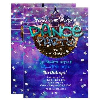 Dance Party Disco Ball Purple Cool Birthday Invitation