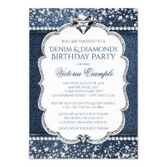 Denim and Diamond Bling Birthday Party Invitation
