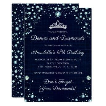 Denim and Diamonds Birthday Invitation