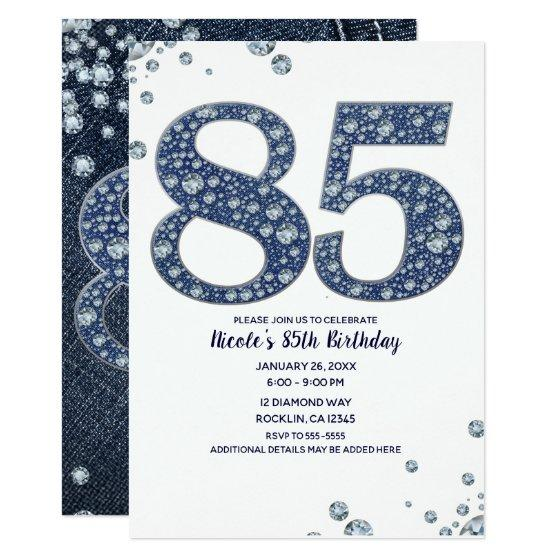 222 Denim Diamonds Bling Sparkle 85TH 85 Birthday Invitation