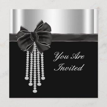 Diamond Bow Silver Black Party Template