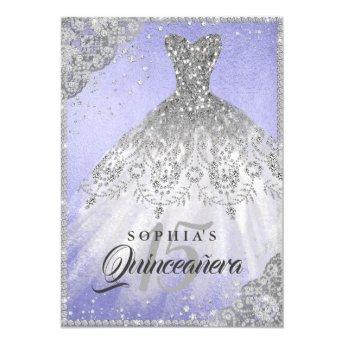 Diamond Lace Sparkle Gown Purple Quinceanera Invitation