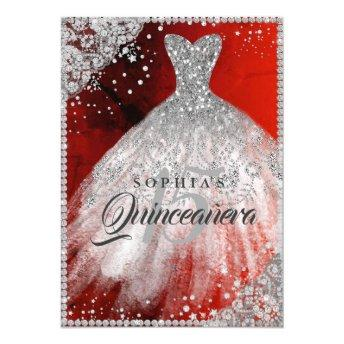 Diamond Lace Sparkle Gown Red Silver Quinceanera Invitation