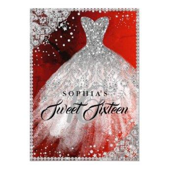 Diamond Lace Sparkle Gown Red Sweet Sixteen Invitation