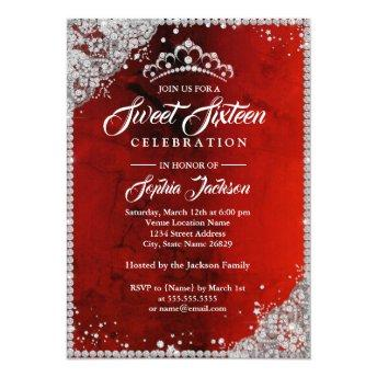 Diamond Lace Sparkle Red Sweet Sixteen Invitation