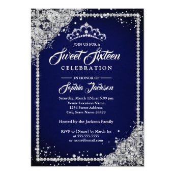 Diamond Lace Sparkle Tiara Navy Sweet Sixteen Invitation