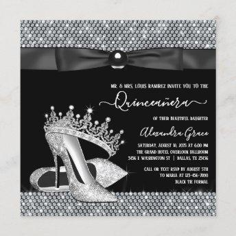 Diamond Tiara Shoe Glam Black Tie Quinceanera Invitation