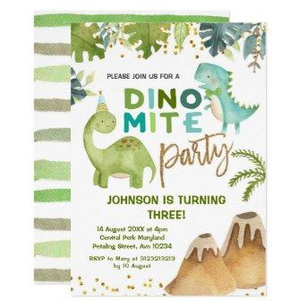 Dino-mite t-rex birthday party invitation