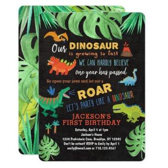 Dinosaur 1st Birthday Invitation Roar Dino Party