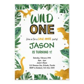 Dinosaur 1st Birthday Invites, Wild One Dinosaur Invitation
