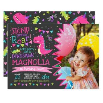 Dinosaur Birthday Invitation Girl Dinosaur Party