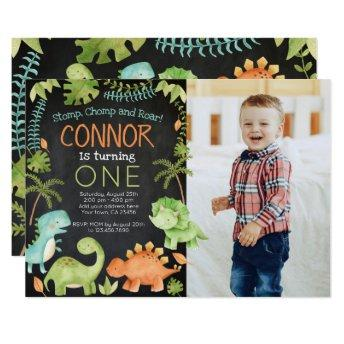 Dinosaur birthday with Photo Invitation