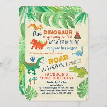 Dinosaur First Birthday Invitation Dinosaur Party