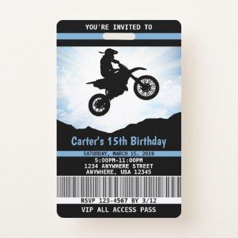 Dirt Bike Birthday Invitation VIP Pass Badge