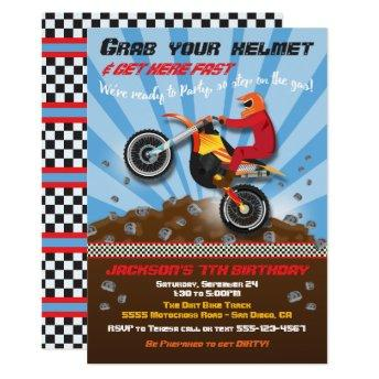Dirt Bike Motocroos Birthday Party Invitation