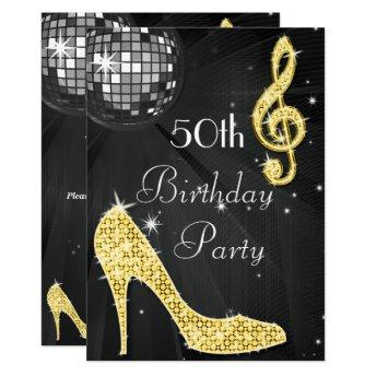 Disco Ball and Heels Black & Gold 50th Birthday Invitation