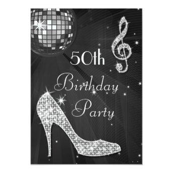 Disco Ball and Heels Black & Silver 50th Birthday Invitation