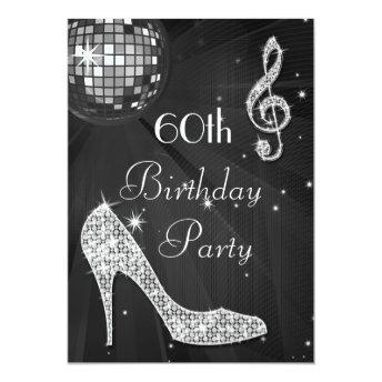 Disco Ball and Heels Black & Silver 60th Birthday Invitation