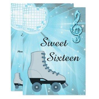 Disco Ball and Roller Skates Sweet Sixteen Invitation