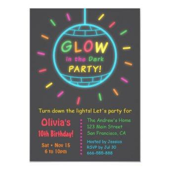 Disco Ball Glow in the Dark Birthday Party Invitation