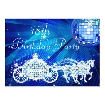 Disco Ball, Princess Coach & Horses 18th Birthday Invitation