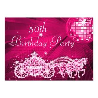 Disco Ball, Princess Coach & Horses 50th Birthday Invitation