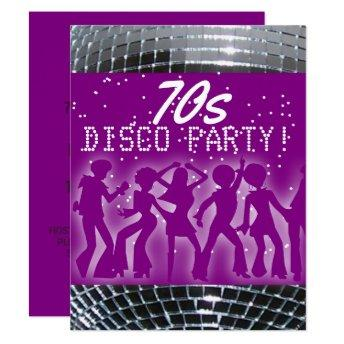 Disco Dance Party Purple | Retro 70's Theme Party Invitation