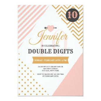 Double Digits Pink and Gold Party Invitation