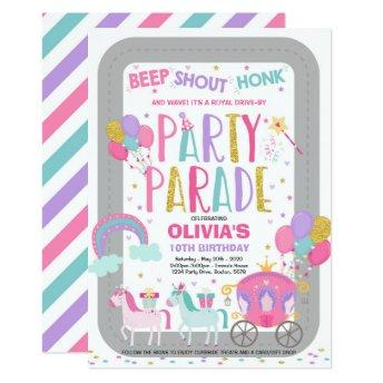 Drive By Birthday Parade Invitation Pink Princess