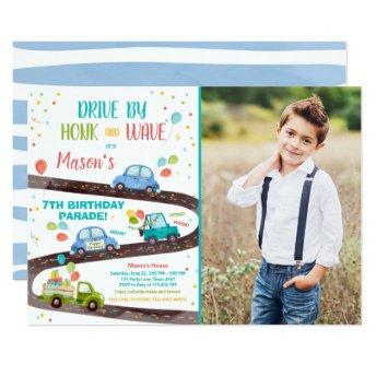 Drive By Birthday Parade Party Blue Drive Through Invitation