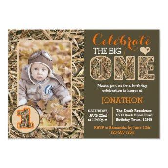 Duck Camo / Camouflage First Birthday Party Invitation