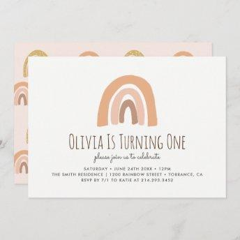 Earthy Pastel Rainbow 1st Birthday Invitation