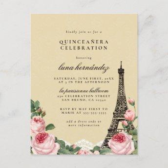Eiffel Tower Floral Paris Themed Quinceañera Invitation PostInvitation