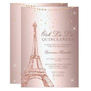 Eiffel tower rose gold metallic foil quinceanera invitation