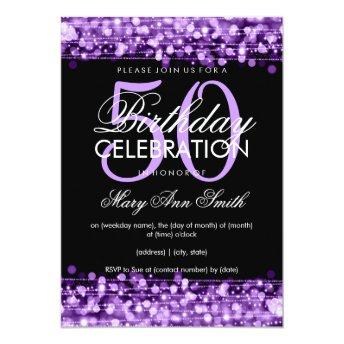 Elegant 50th Birthday Party Sparkles Purple