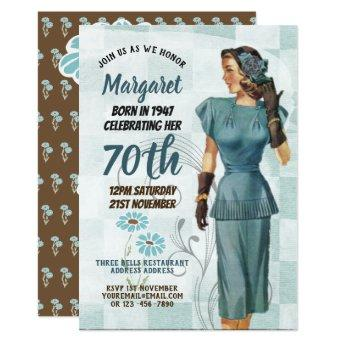 Elegant 70th Birthday Invite RETRO 1940s Woman