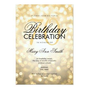 Elegant 70th Birthday Party Gold Glitter Lights