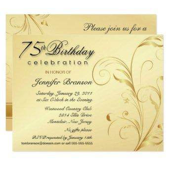 Elegant 75th Birthday Surprise Party Invitation