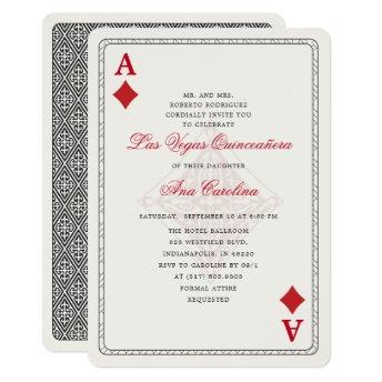 Elegant and Unique Red Las Vegas Quinceañera Invitation