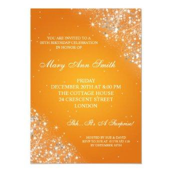 Elegant Birthday Party Sparkling Glitter Orange