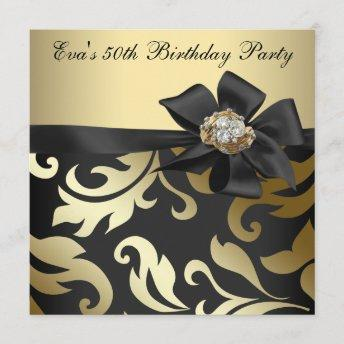 Elegant Black and Gold 50th Birthday Party Invitation