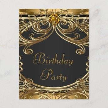 Elegant Black and Gold Birthday Party Invitation