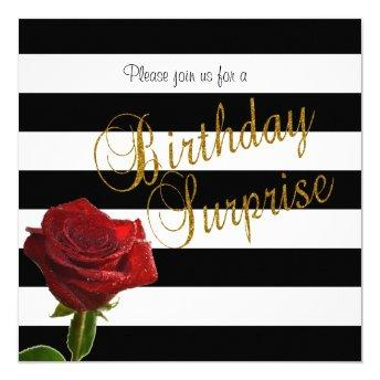 Elegant Black and White Stripes and Red Roses Invitation