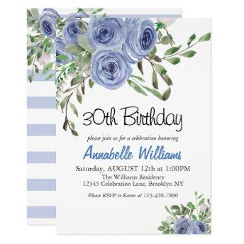Elegant Blue Floral Watercolor Stripes Birthday Invitation